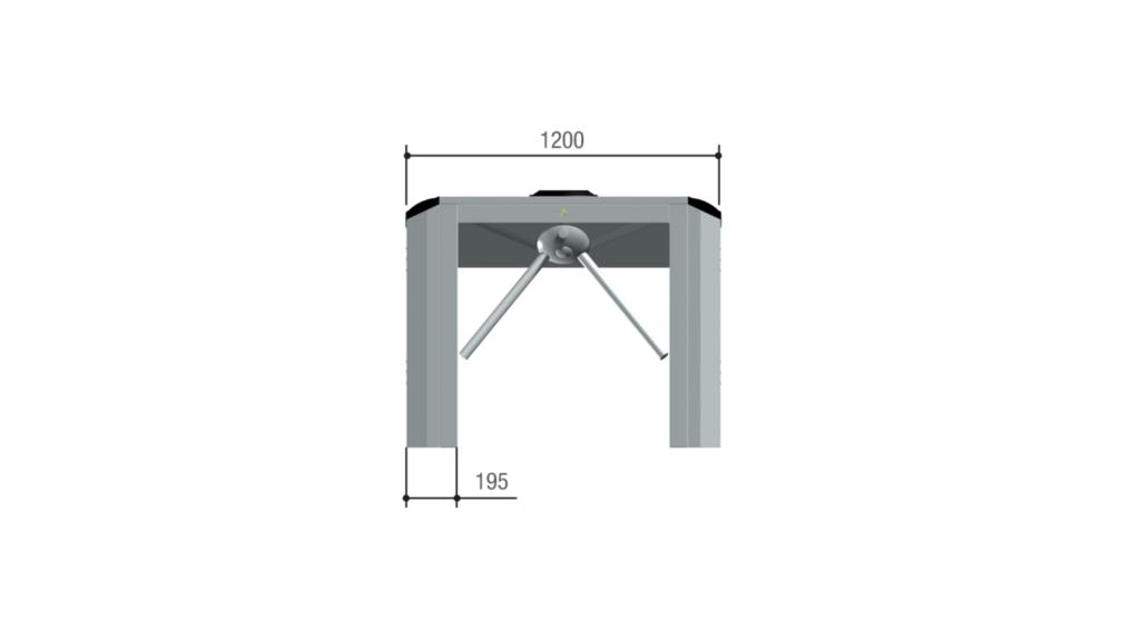 Ingombri e limiti di impiego tornello TT08 vista frontale