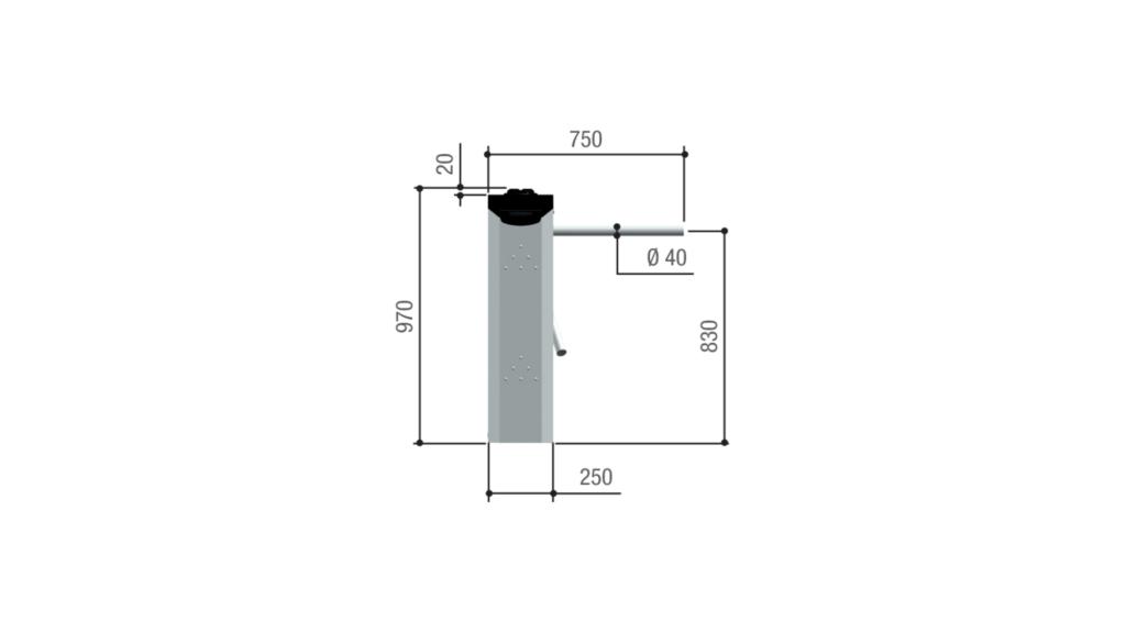 Ingombri e limiti di impiego tornello TT08 vista laterale