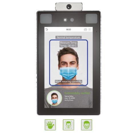 Lettore controllo accessi con riconoscimento  della faccia e lettura della temperatura